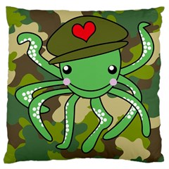 Octopus Army Ocean Marine Sea Large Cushion Case (one Side)