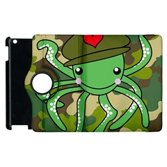Octopus Army Ocean Marine Sea Apple Ipad 3/4 Flip 360 Case by Nexatart