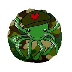Octopus Army Ocean Marine Sea Standard 15  Premium Round Cushions