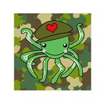 Octopus Army Ocean Marine Sea Small Satin Scarf (Square) Front
