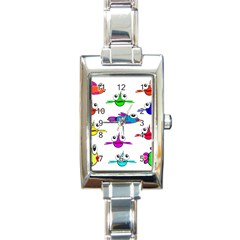 Fish Swim Cartoon Funny Cute Rectangle Italian Charm Watch