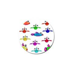 Fish Swim Cartoon Funny Cute Golf Ball Marker (4 Pack) by Nexatart