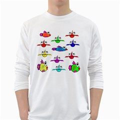 Fish Swim Cartoon Funny Cute White Long Sleeve T Shirts