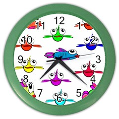 Fish Swim Cartoon Funny Cute Color Wall Clocks by Nexatart