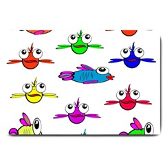 Fish Swim Cartoon Funny Cute Large Doormat