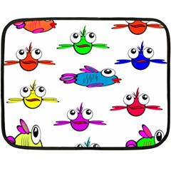 Fish Swim Cartoon Funny Cute Fleece Blanket (mini) by Nexatart