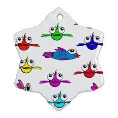 Fish Swim Cartoon Funny Cute Ornament (snowflake) by Nexatart