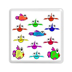 Fish Swim Cartoon Funny Cute Memory Card Reader (square)  by Nexatart