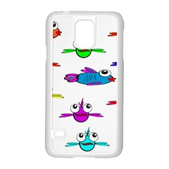 Fish Swim Cartoon Funny Cute Samsung Galaxy S5 Case (white)