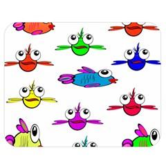 Fish Swim Cartoon Funny Cute Double Sided Flano Blanket (medium)  by Nexatart