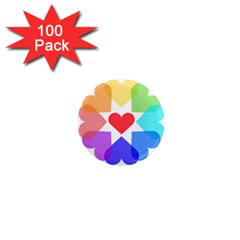 Heart Love Romance Romantic 1  Mini Magnets (100 Pack)