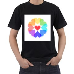 Heart Love Romance Romantic Men s T Shirt (black) (two Sided)