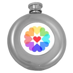 Heart Love Romance Romantic Round Hip Flask (5 Oz) by Nexatart
