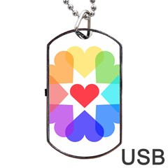 Heart Love Romance Romantic Dog Tag Usb Flash (one Side)