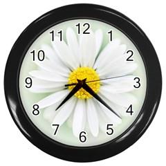 Art Daisy Flower Art Flower Deco Wall Clocks (black) by Nexatart
