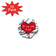 Love Abstract Heart Romance Shape 1  Mini Magnet (10 Pack)
