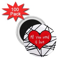 Love Abstract Heart Romance Shape 1 75  Magnets (100 Pack)