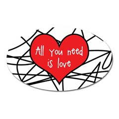 Love Abstract Heart Romance Shape Oval Magnet by Nexatart