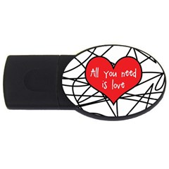 Love Abstract Heart Romance Shape Usb Flash Drive Oval (4 Gb)