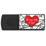 Love Abstract Heart Romance Shape Rectangular USB Flash Drive Front