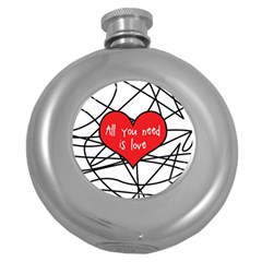 Love Abstract Heart Romance Shape Round Hip Flask (5 Oz)
