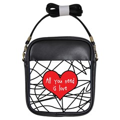 Love Abstract Heart Romance Shape Girls Sling Bags