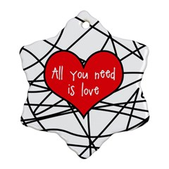 Love Abstract Heart Romance Shape Snowflake Ornament (two Sides)
