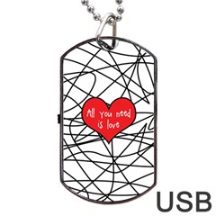 Love Abstract Heart Romance Shape Dog Tag Usb Flash (one Side)
