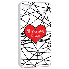 Love Abstract Heart Romance Shape Apple Iphone 4/4s Seamless Case (white)