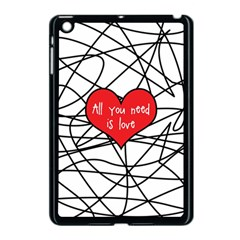 Love Abstract Heart Romance Shape Apple Ipad Mini Case (black) by Nexatart