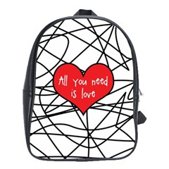 Love Abstract Heart Romance Shape School Bag (xl)