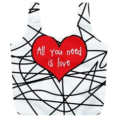 Love Abstract Heart Romance Shape Full Print Recycle Bags (l)