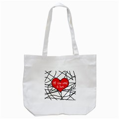 Love Abstract Heart Romance Shape Tote Bag (white)