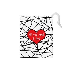 Love Abstract Heart Romance Shape Drawstring Pouches (small)