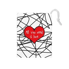 Love Abstract Heart Romance Shape Drawstring Pouches (medium)