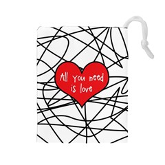 Love Abstract Heart Romance Shape Drawstring Pouches (large)