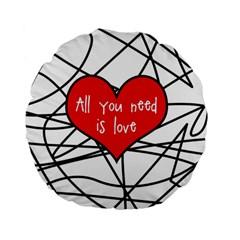 Love Abstract Heart Romance Shape Standard 15  Premium Flano Round Cushions by Nexatart