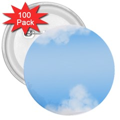 Sky Cloud Blue Texture 3  Buttons (100 Pack)