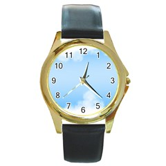 Sky Cloud Blue Texture Round Gold Metal Watch
