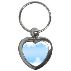 Sky Cloud Blue Texture Key Chains (heart)