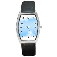 Sky Cloud Blue Texture Barrel Style Metal Watch by Nexatart