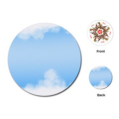 Sky Cloud Blue Texture Playing Cards (round)