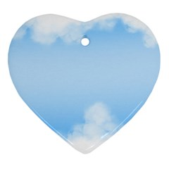 Sky Cloud Blue Texture Heart Ornament (two Sides)