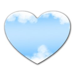 Sky Cloud Blue Texture Heart Mousepads