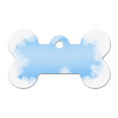 Sky Cloud Blue Texture Dog Tag Bone (two Sides)