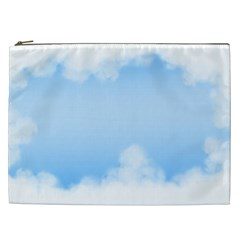Sky Cloud Blue Texture Cosmetic Bag (xxl)
