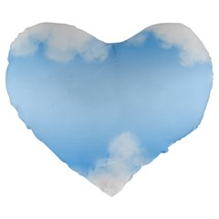 Sky Cloud Blue Texture Large 19  Premium Heart Shape Cushions