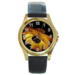 Ranunculus Yellow Orange Blossom Round Gold Metal Watch