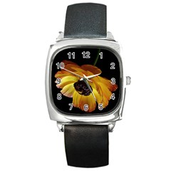 Ranunculus Yellow Orange Blossom Square Metal Watch