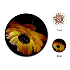 Ranunculus Yellow Orange Blossom Playing Cards (round)